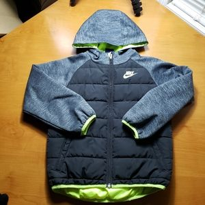NIKE Coat - Kids 7/Large - Black, Gray, & Neon